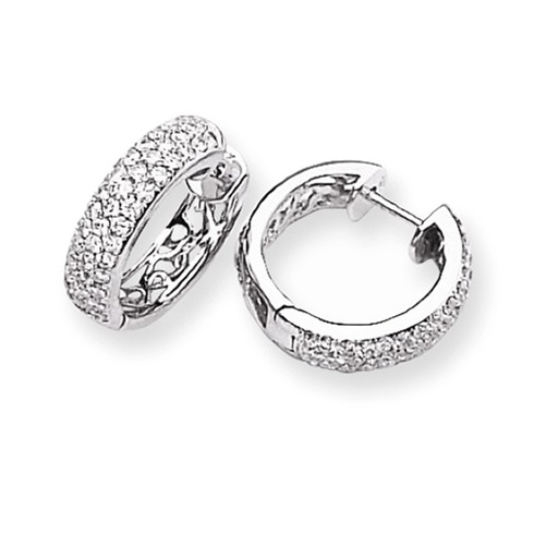 14kt White Gold 1 1/5 ct Diamond Pave Hoop Earrings