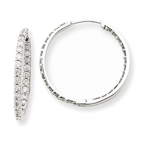 14kt White Gold 1/2 ct Diamond In and Out Hoop Earrings