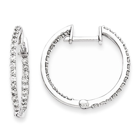 14kt White Gold 1 ct Diamond In and Out Hoop Earrings