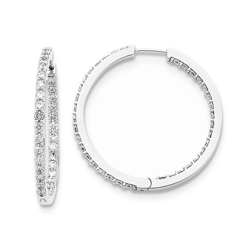 14kt White Gold 2 ct Diamond In and Out Hoop Earrings