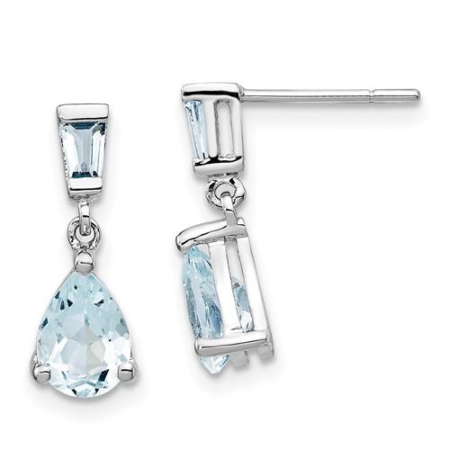 14kt White Gold 1.2 ct Aquamarine Pear Drop Earrings
