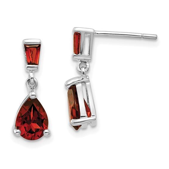 14kt White Gold 1.5 ct Pear Garnet Dangle Earrings