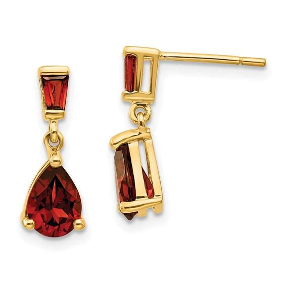 14kt Yellow Gold 1.5 ct Pear Garnet Dangle Earrings