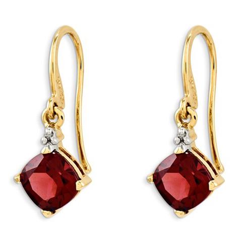 14kt Yellow Gold 2.25 ct Cushion Garnet Dangle Earrings with Diamonds