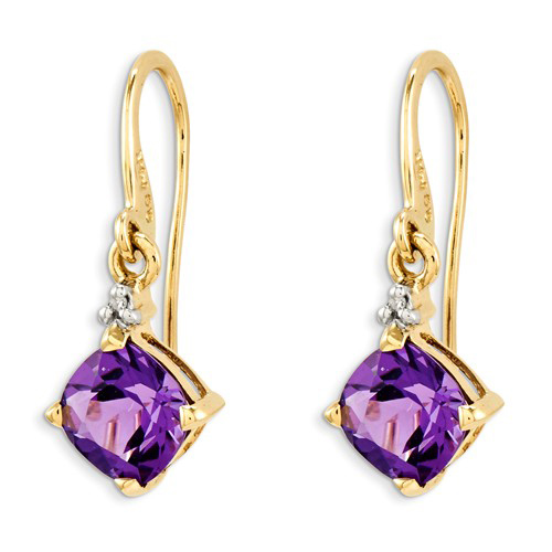 14kt Yellow Gold 1.7 ct Cushion Amethyst Dangle Earrings with Diamonds