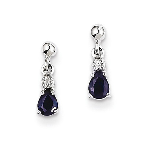 14kt White Gold 3/8 ct Pear Sapphire Dangle Earrings with Diamonds