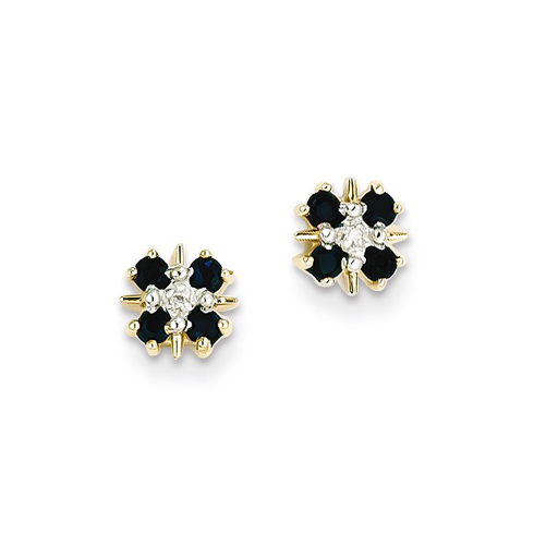 14kt Yellow Gold 1/3 ct Sapphire Earrings with Diamonds