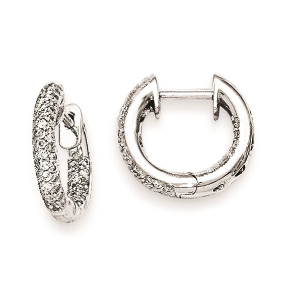 14kt White Gold 1/3 ct Diamond Pave In and Out Hoop Earrings