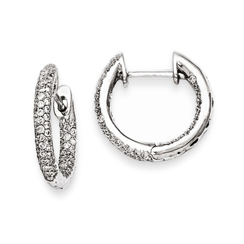 14kt White Gold 1/2 ct Diamond Pave In and Out Hoop Earrings