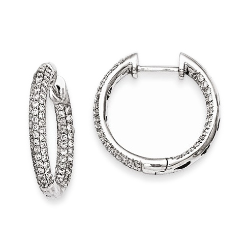 14kt White Gold 3/4 ct Diamond Pave In and Out Hoop Earrings