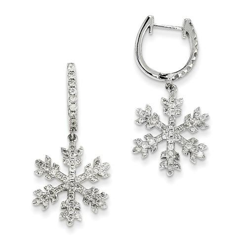 14kt White Gold 1 ct Diamond Snowflake Dangle Earrings