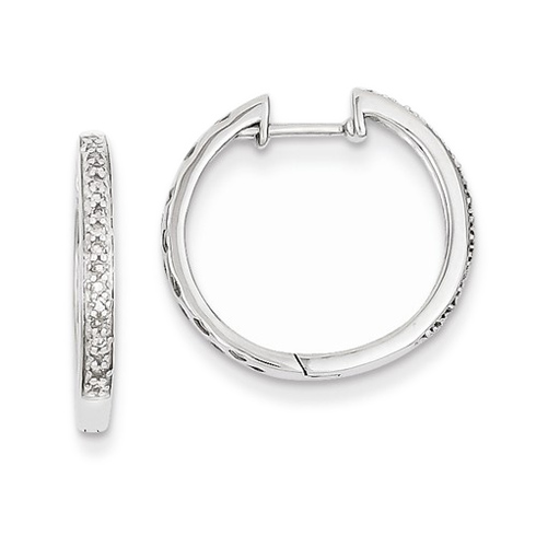 14kt White Gold 1/10 ct Diamond Hinged Hoop Earrings