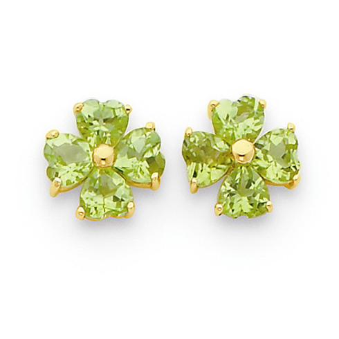14kt Yellow Gold 2 ct Heart-shaped Flower Peridot Earrings