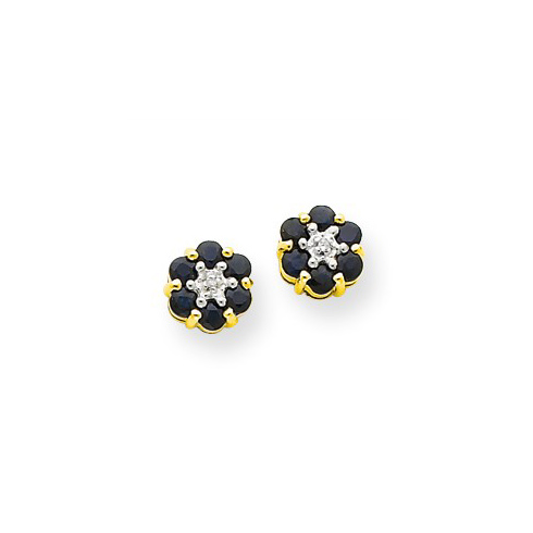 14kt Yellow Gold 1/3 ct Sapphire Flower Earrings with Diamonds