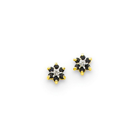 14kt Yellow Gold 1/3 ct Sapphire Petal Earrings with Diamonds