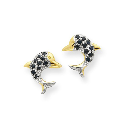 14kt Yellow Gold 1/3 ct Sapphire Dolphin Earrings with Diamonds