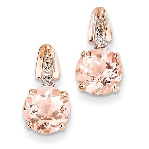14kt Rose Gold 2.3 ct tw Morganite and Diamond Dangle Earrings