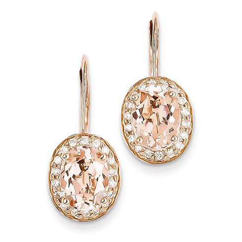 14kt Rose gold 2.28 ct Oval Morganite Leverback Earrings with Diamonds