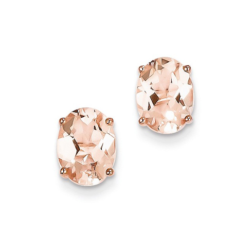 14kt Rose Gold 2.0 ct Oval Morganite Stud Earrings