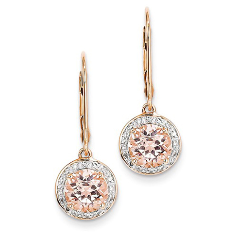 14kt Rose gold 2.36 ct Morganite Leverback Earrings with Diamonds