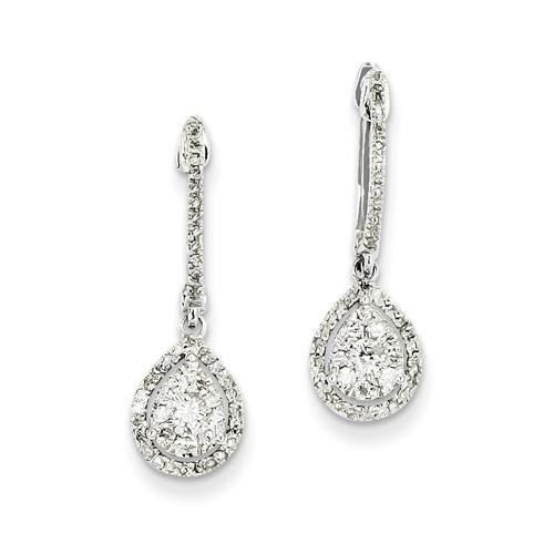 14kt White Gold 1/2 ct tw Diamond Pear Hinged Hoop Earrings