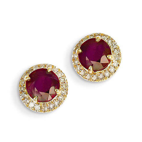 14kt Yellow Gold 2.4 ct Ruby and Diamond Earrings