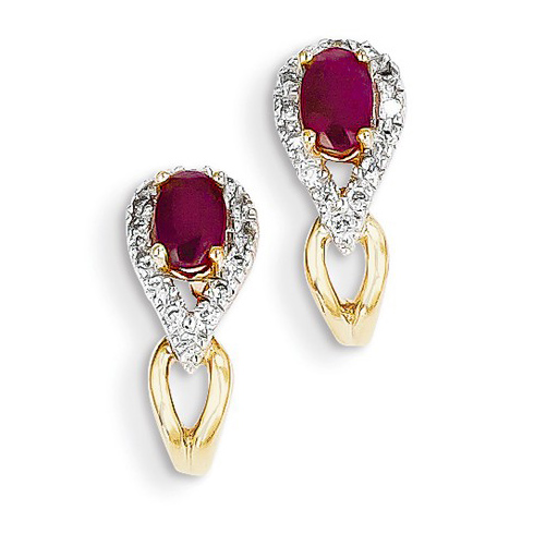14kt Yellow Gold 2/3 ct Ruby Drop Earrings with Diamonds