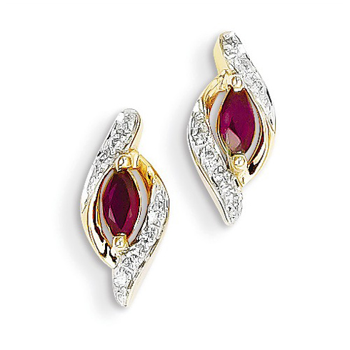14kt Yellow Gold 1/3 ct Marquise-cut Ruby Earrings with Diamonds