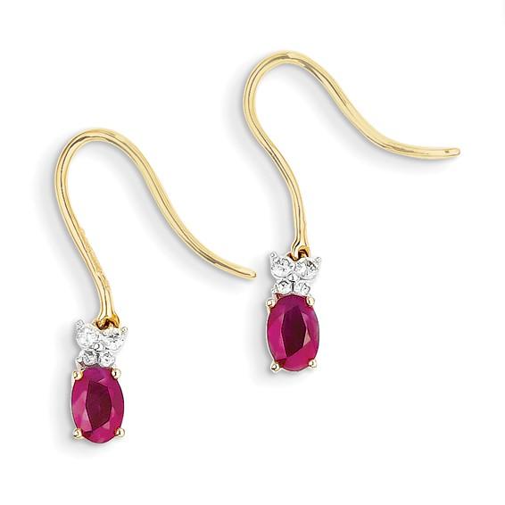 14kt Yellow Gold 1 1/4 ct Ruby Shepherd Hook Earrings with Diamonds