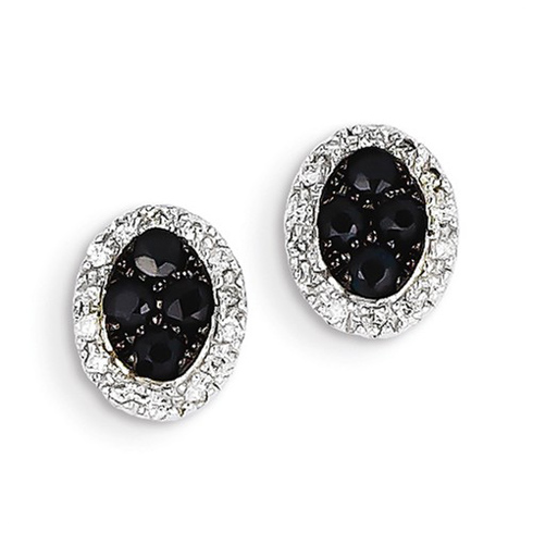 14kt White Gold 1/2 ct Sapphire Oval Stud Earrings with Diamonds