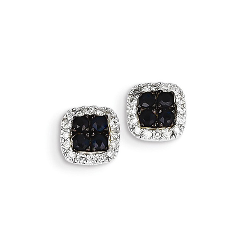 14kt White Gold 2/5 ct Sapphire Square Earrings with Diamonds