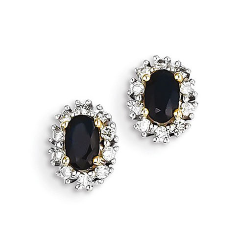 14kt Yellow Gold 7/10 ct Oval Sapphire Stud Earrings with Diamonds