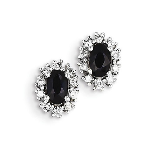 14kt White Gold 7/10 ct Oval Sapphire Stud Earrings with Diamonds