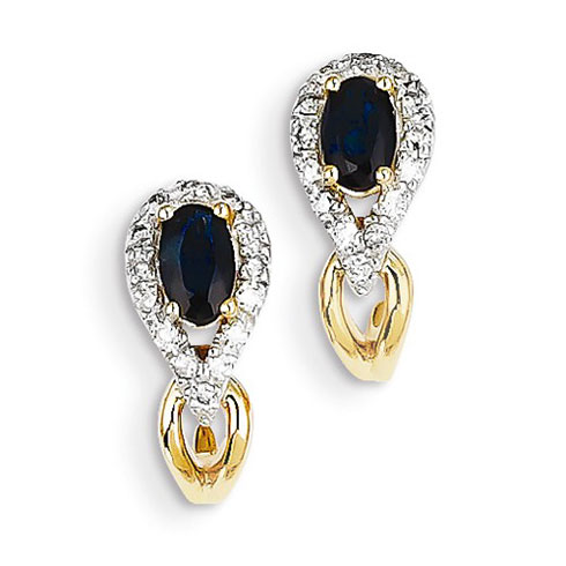 14kt Yellow Gold 7/10 ct Sapphire J Hoop Earrings with Diamonds