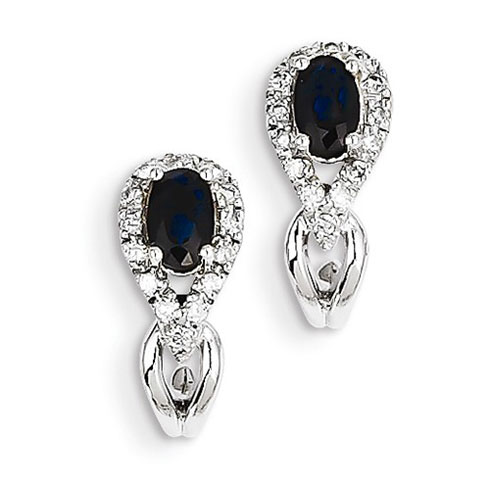 14kt White Gold 7/10 ct Sapphire J Hoop Earrings with Diamonds