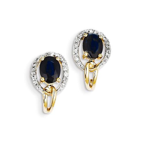 14kt Yellow Gold 2 ct Sapphire J Hoop Earrings with Diamonds