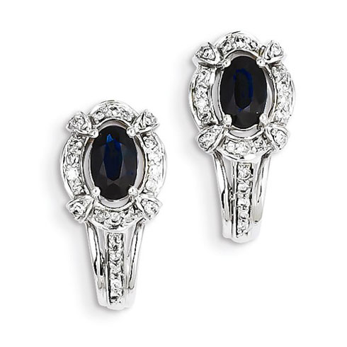 14kt White Gold 1.3 ct Sapphire Fancy J Hoop Earrings with Diamonds