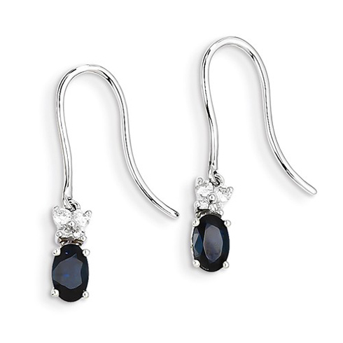 14kt White Gold 1.3 ct Oval Sapphire Dangle Earrings with Diamonds