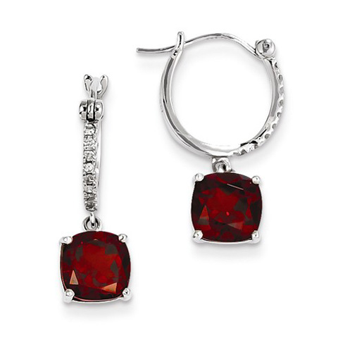 14kt White Gold 2.8 ct Garnet Hoop Earrings with Diamonds