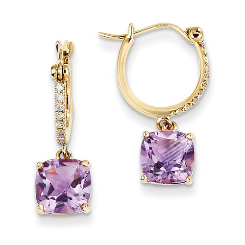 14kt Yellow Gold 2.2 ct Amethyst Hoop Earrings with Diamonds