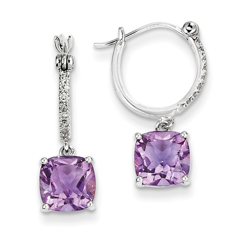 14kt White Gold 2.2 ct Amethyst Hoop Earrings with Diamonds