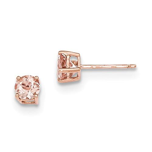 14kt Rose Gold 1ct tw Morganite Stud Earrings