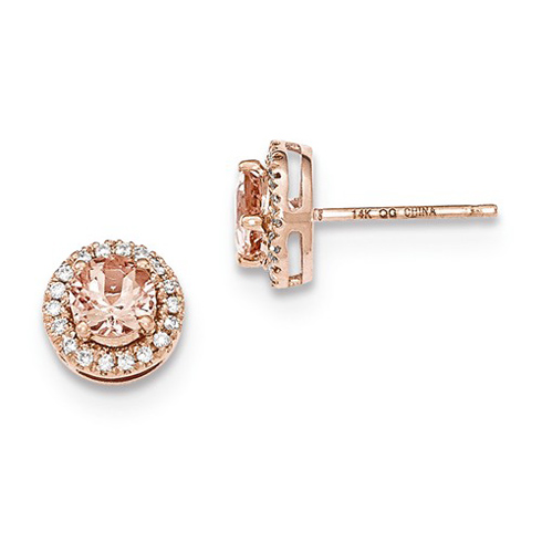 14kt Rose Gold 1 ct Morganite Halo Earrings with Diamonds