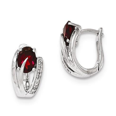 14kt White Gold 2 ct Garnet Fancy Hoop Earrings with Diamonds