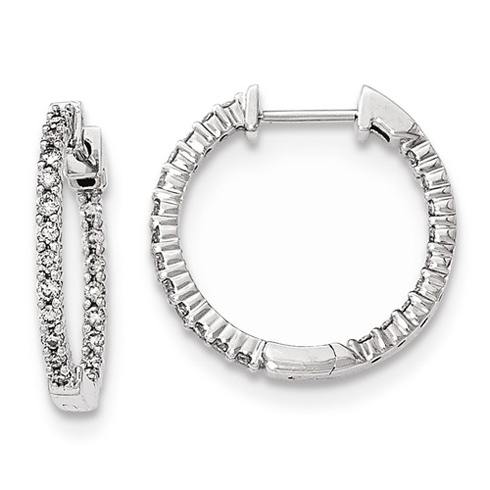 14kt White Gold 1/2 ct Diamond In and Out Hinged Hoop Earrings