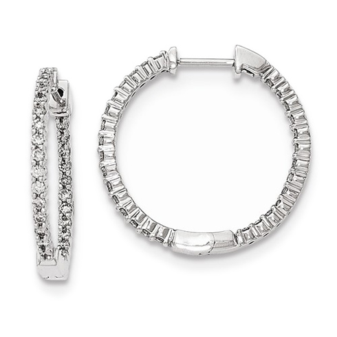 14kt White Gold 5/8 ct Diamond In and Out Hinged Hoop Earrings