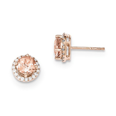 14kt Rose Gold 1.5 ct Morganite Halo Earrings with Diamonds