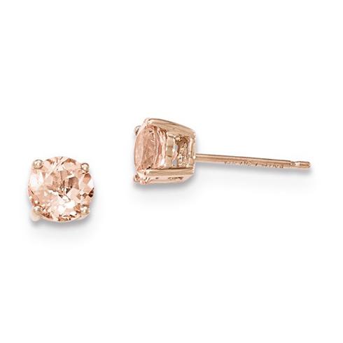 14kt Rose Gold 1.5 ct Morganite Stud Earrings