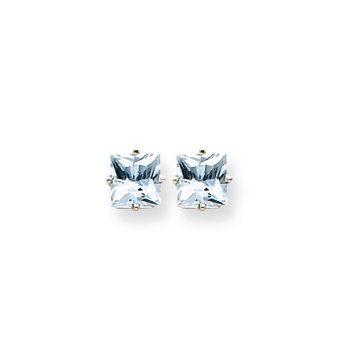 14kt White Gold 2 ct Square Aquamarine Stud Earrings