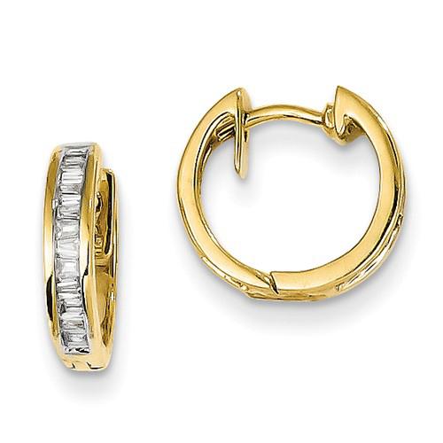14kt Yellow Gold 1/4 ct Diamond Baguette 1/2in Hoop Earrings